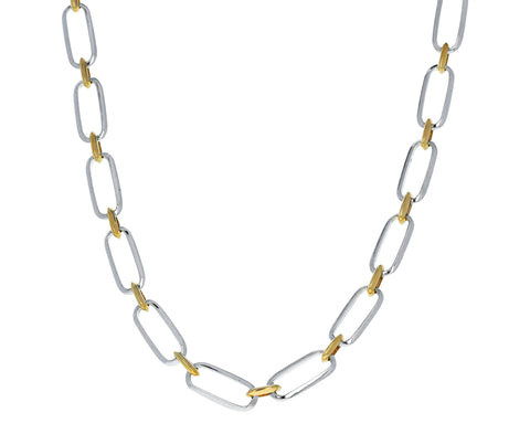 Gold and Silver Flat Link Choker Necklace - TWISTonline