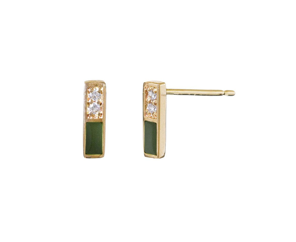 Diamond and Army Green Linear Earrings zoom 1_alison_lou_gold_enamel_army_green_linear_earring