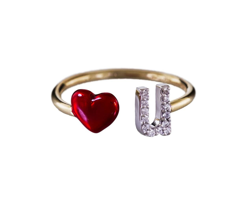 Diamond and Enamel Love U Ring - TWISTonline