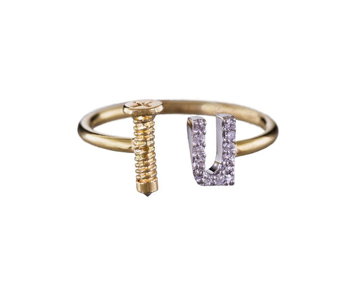 Gold and Diamond Screw U Ring - TWISTonline