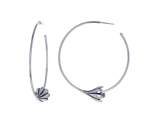 Silver Anemone Hoop Earrings - TWISTonline