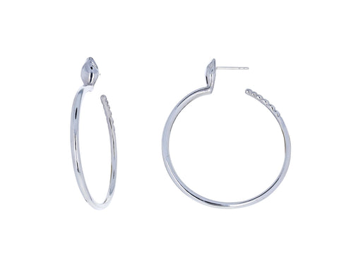 Silver Snake Hoop Earrings