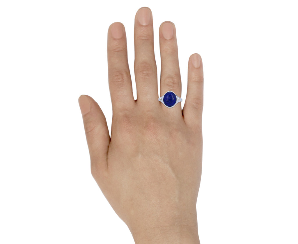 Lapis and White Topaz Essential Ring