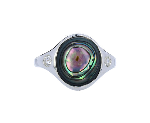 Abalone and White Topaz Essential Ring