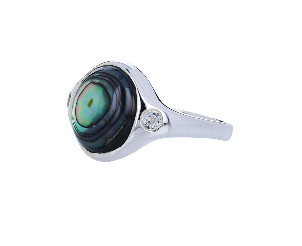 Abalone and White Topaz Essential Ring - TWISTonline