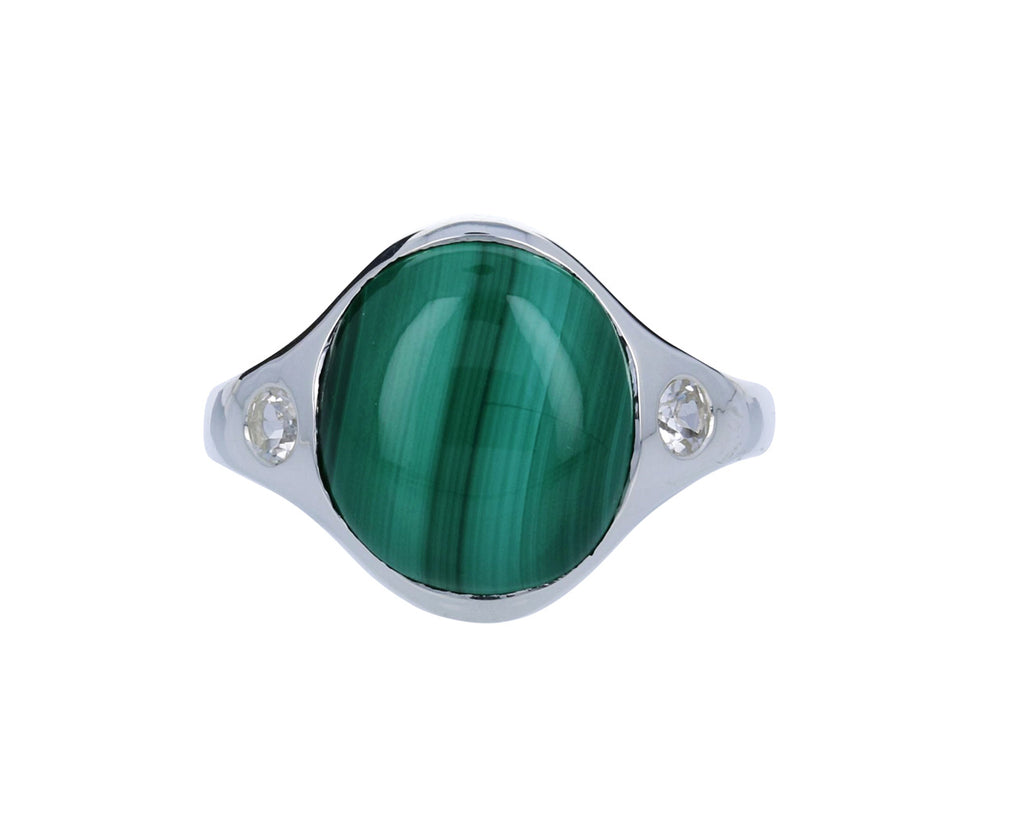 Malachite and White Topaz Essential Ring