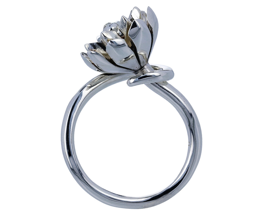 Small Silver Anemone Rings