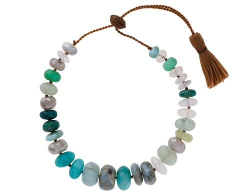 Quartz, Amazonite, and Chrysoprase Tassel Bracelet
