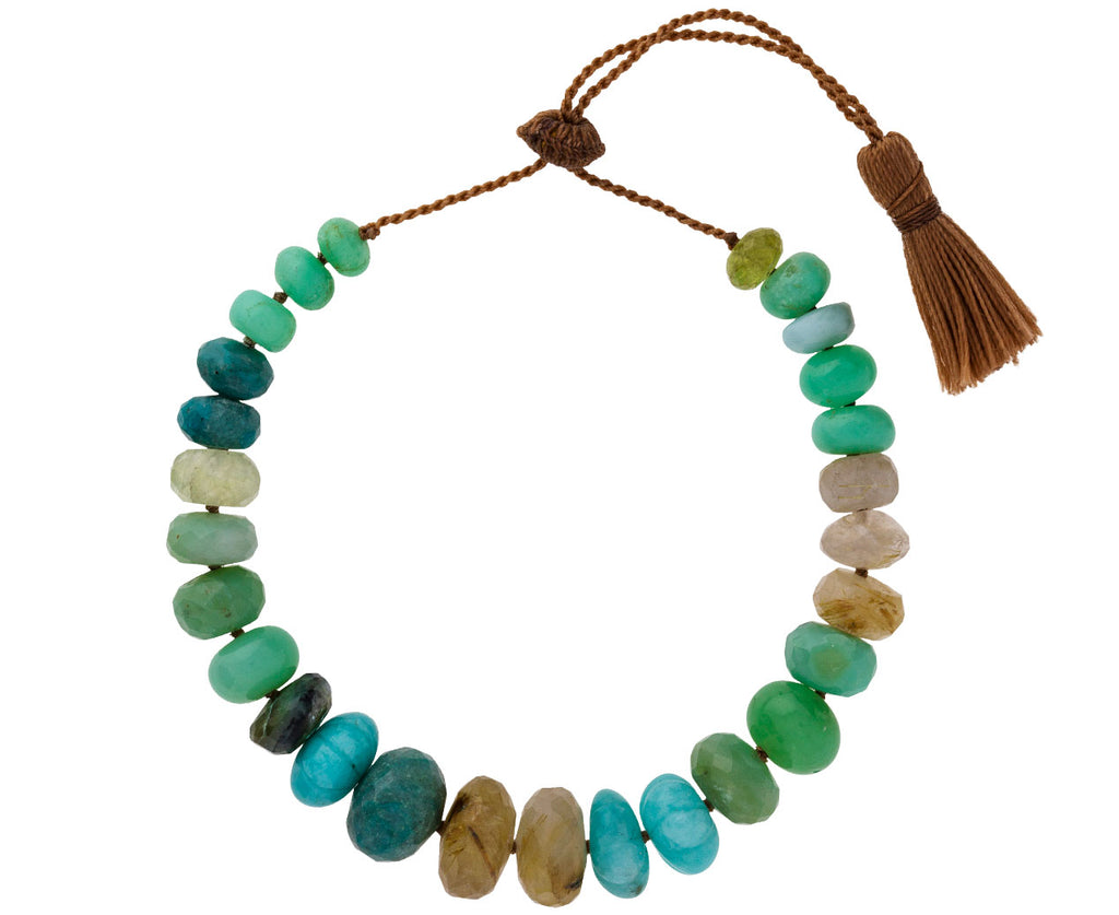 Chrysoprase, Turquoise, and Quartz Tassel Bracelet