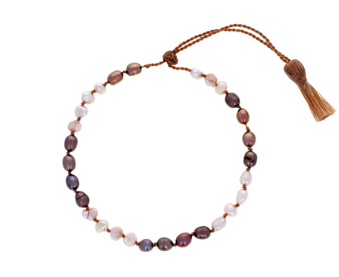 White and Mauve Pearl Bracelet