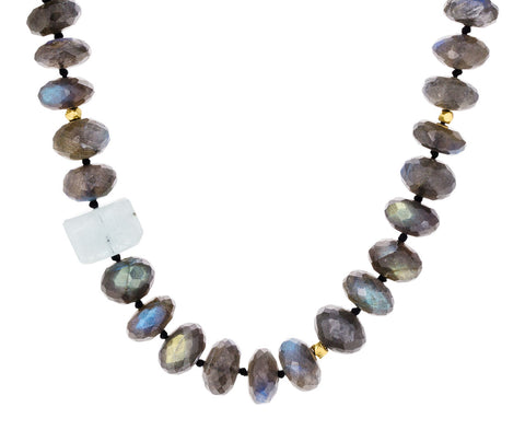 Labradorite, Gold Bead and Aquamarine Necklace