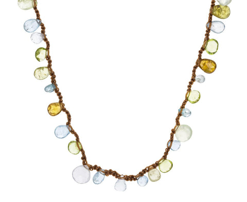 Aquamarine, Peridot, Blue Topaz, Green Garnet Necklace - TWISTonline