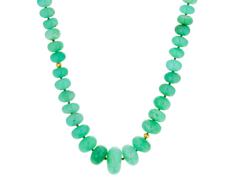 Chrysoprase and Gold Bead Necklace