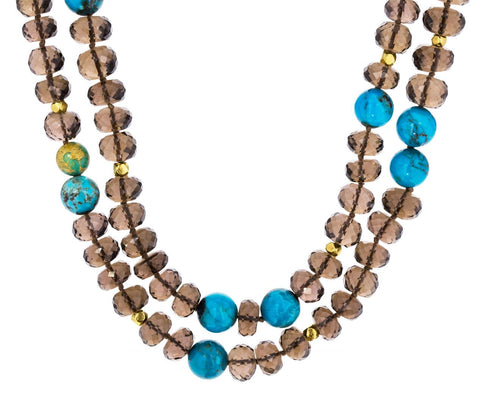 Smoky Quartz and Turquoise Bead Necklace - TWISTonline