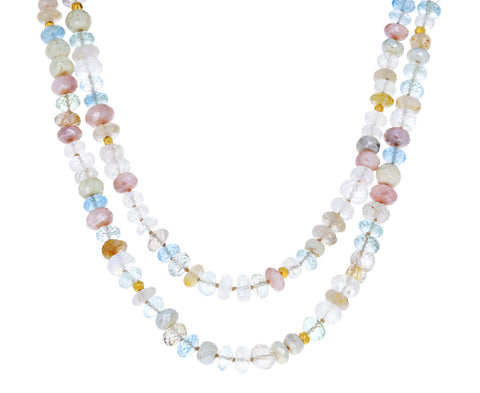 Pink Opal, Moonstone and Aquamarine Beaded Necklace