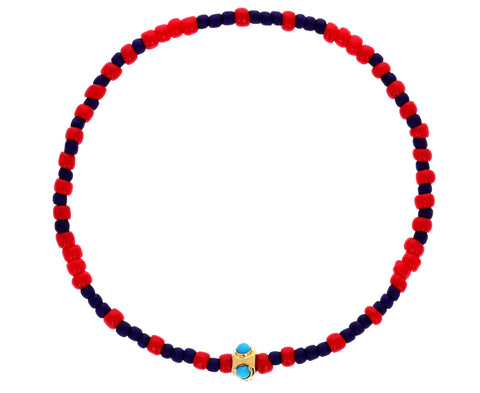Red and Blue Seed Beads with Turquoise Charm Bracelet