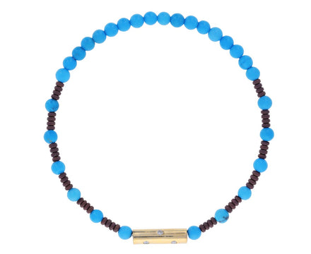 Turquoise and Diamond Barrel Beaded Bracelet