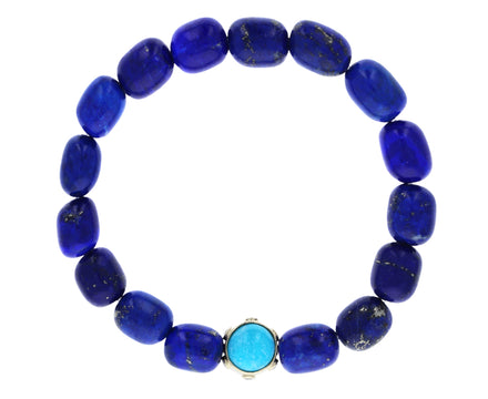 Diamond, Turquoise and Carnelian Bead Lapis Bracelet