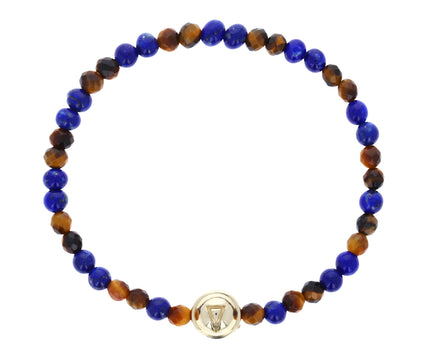 Fire and Water Beaded Lapis and Tiger's Eye Bracelet