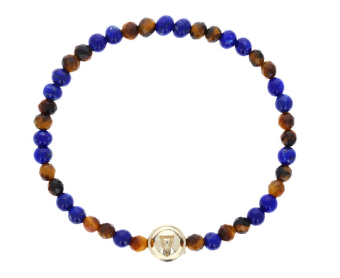 Fire and Water Beaded Lapis and Tiger's Eye Bracelet - TWISTonline