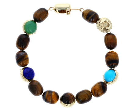 Tiger's Eye Five Charm Bead Bracelet