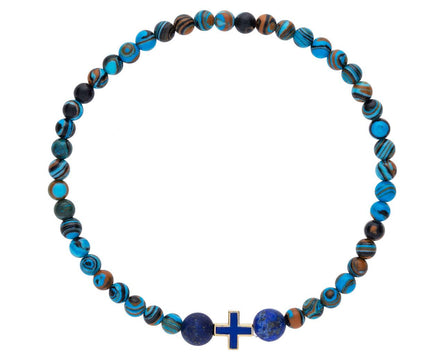 Men's Turquoise, Lapis and Greek Cross Bracelet - TWISTonline