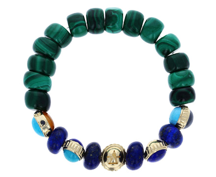 Fire, Water, Air, Earth, Atlantis Malachite and Lapis Bead Bracelet