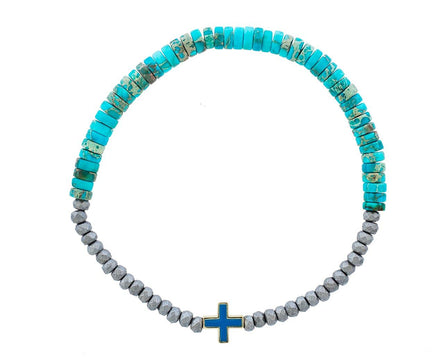 Turquoise and Hematite Greek Cross Bracelet - TWISTonline