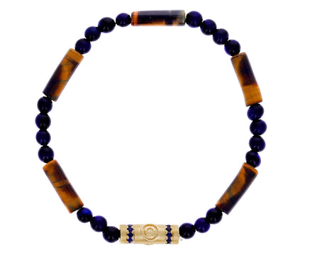 Tiger's Eye and Blue Sapphire Charm Bracelet