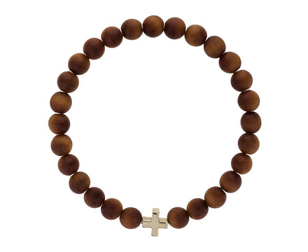 Sandalwood Greek Cross Bead Bracelet - TWISTonline