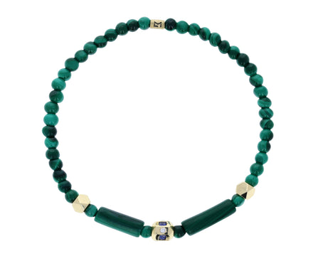 Beaded Malachite Blue Sapphire Diamond Charm Bracelet