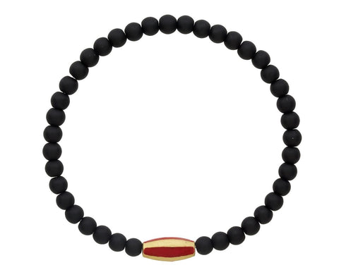 Black Bracelet with Red Enamel and Gold Bead - TWISTonline