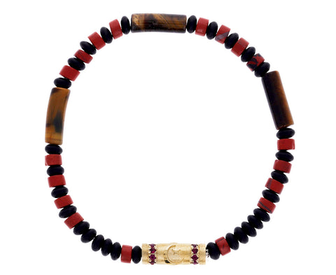 Tiger's Eye and Ruby Charm Beaded Bracelet