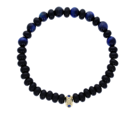 Blue Tiger's Eye, Black Agate and Sapphire Bead Bracelet