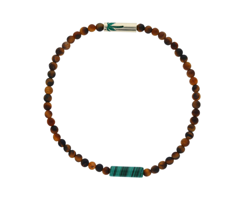 Enamel Palm Tree Tigers Eye Men's Beaded Bracelet - TWISTonline