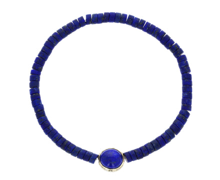 Lapis and Cross Bead Bracelet