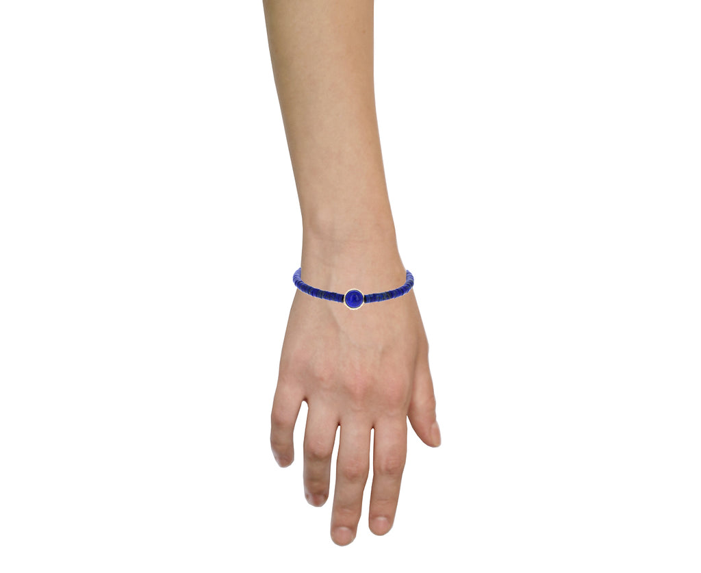 Lapis and Cross Bead Bracelet - TWISTonline