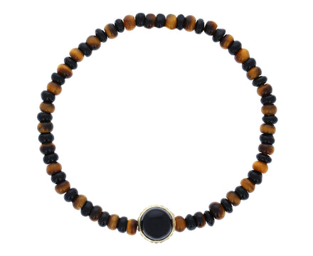 Tiger's Eye Black Agate Sun Bead Bracelet