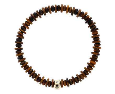 Tiger's Eye, Star and Diamond Octagon Charm Bracelet