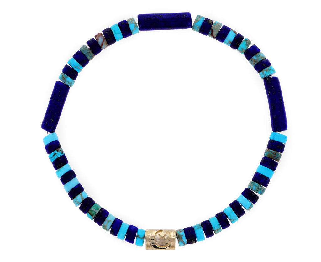 Turquoise, Lapis and Gold Beaded Bracelet
