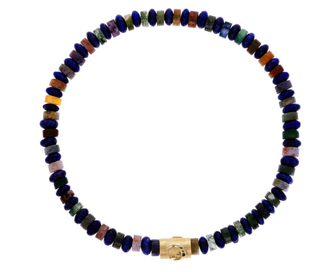 Men's Lapis and Mixed Gem Moon and Stars Bracelet