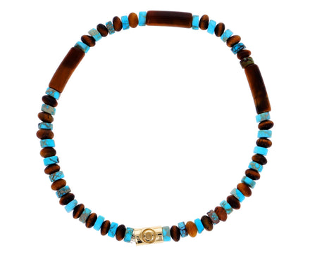 Men's Tigers Eye and Turquoise Evil Eye Beaded Bracelet
