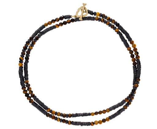 Tiger's Eye and Pyrite Beaded Wrap Bracelet