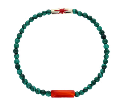 Red Enamel Star Malachite Bead Bracelet