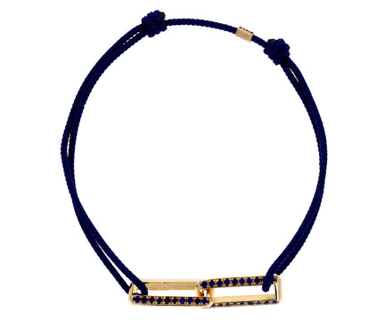 Gold and Blue Sapphire Link Charm Bracelet