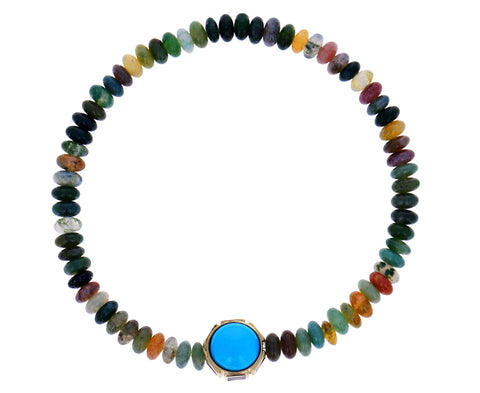 Lapis, Turquoise and Mixed Gem Beaded Bracelet