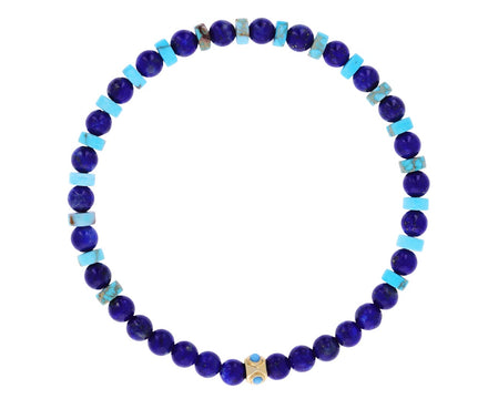 Lapis and Turquoise Tetra Beaded Bracelet