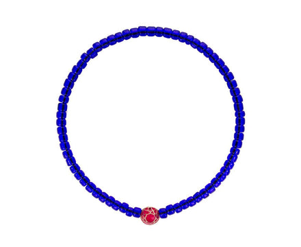 Blue Bracelet with Pink Enamel Mantra Bead - TWISTonline