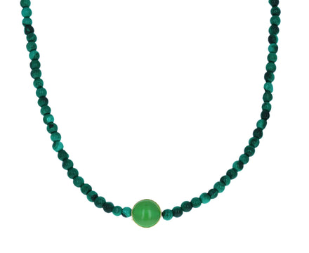 Malachite and Chrysoprase Evil Eye Beaded Necklace