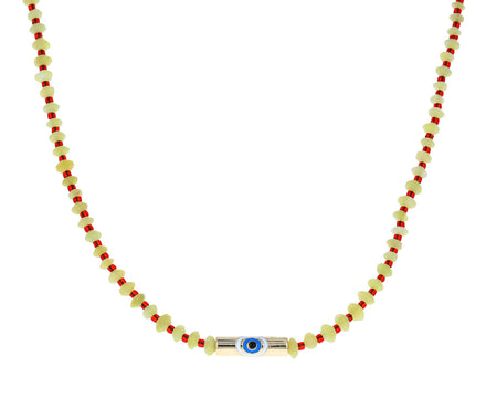 Green Quartz and Seed Bead Evil Eye Necklace